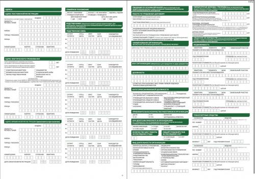 Анкета на потребительский кредит в Сбербанке